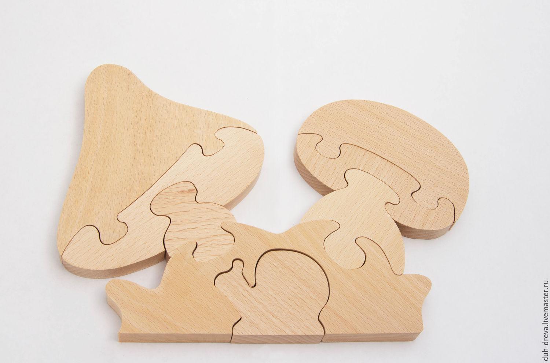 Wooden puzzle toy mushrooms, Puzzle, Vladimir,  Фото №1