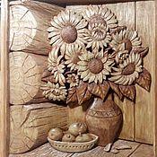 """Картины и панно ручной работы. Ярмарка Мастеров - ручная работа Резная картина из дерева """"Натюрморт с подсолнухами"""". Handmade."""