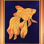 "Картины и панно handmade. Livemaster - original item Amber picture ""Goldfish"". Panels of amber ""Goldfish"". Handmade."