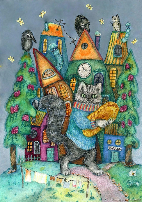 Картины в детскую: Купил котик пирожок, Картины, Краснознаменск,  Фото №1
