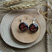 Украшения handmade. Livemaster - original item Earrings Silverplated Khokhloma (red pattern). Handmade.