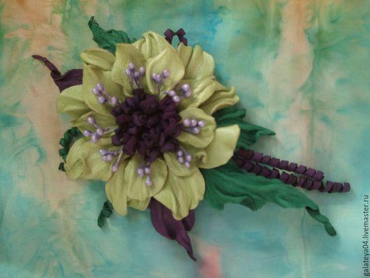 """Заколки ручной работы. Ярмарка Мастеров - ручная работа. Купить Брошь-заколка цветок из  натуральной  кожи """"Лета  перезвон"""". Handmade."""