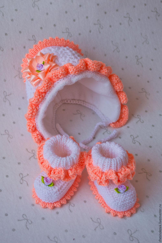 Шапочка и пинетки спицами, Вязание для детей 8