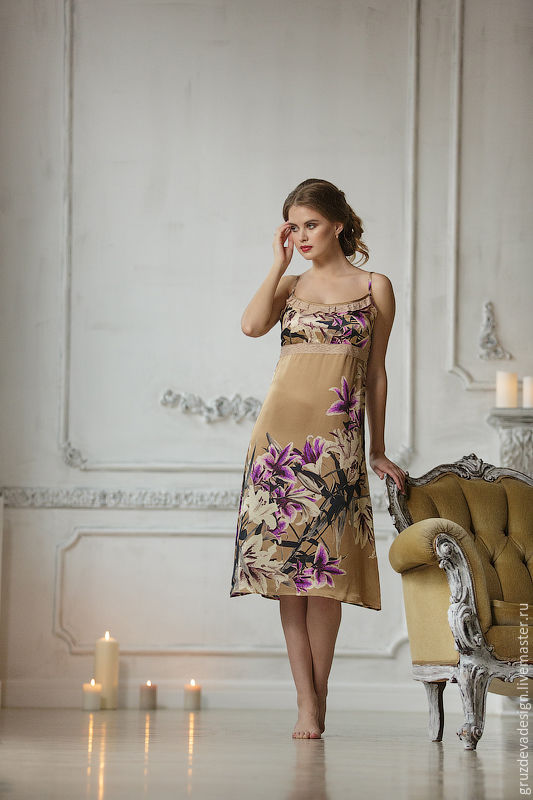 Белье ручной работы. Ярмарка Мастеров - ручная работа. Купить Домашнее  платье из Натурального шелка ... 7b940ff45ea