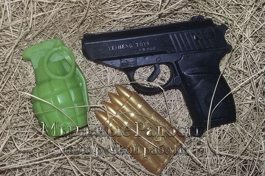 """Мыло ручной работы. Ярмарка Мастеров - ручная работа. Купить Набор мыла """"Военный №1"""". Handmade. Комбинированный, мыло, пистолет"""
