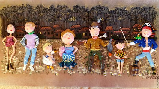 Статуэтки ручной работы. Ярмарка Мастеров - ручная работа. Купить Картина Семья охотника. Handmade. Комбинированный, интересный подарок, пират