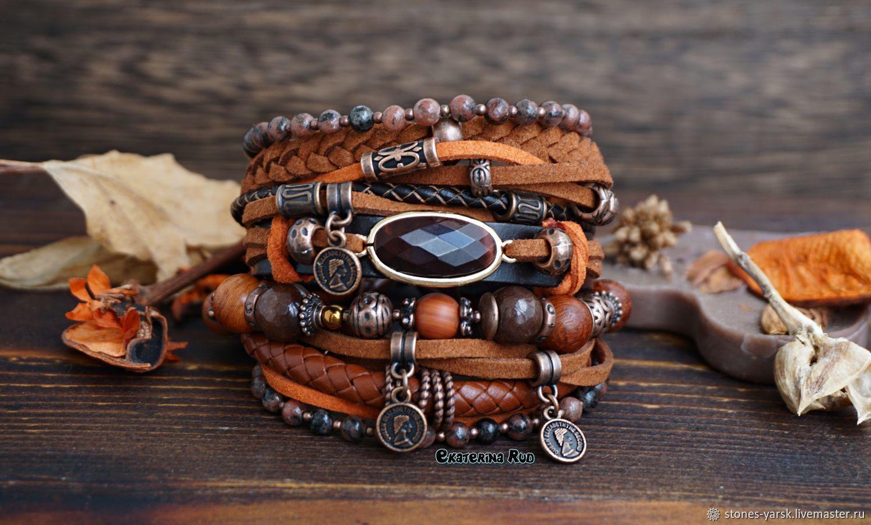 Boho-chic bracelet with jasper and bull's eye ' Red', Bead bracelet, Moscow,  Фото №1