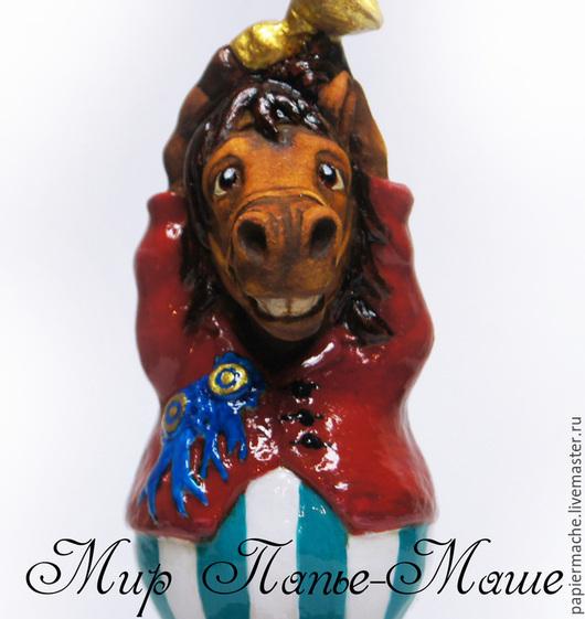 елочные игрушки, елочная игрушка, елочные украшения, конь, лошадь, фигурка лошадь, фигурка из папье маше, игрушка на елку, украшения на елку