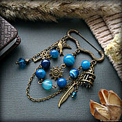 Украшения handmade. Livemaster - original item Safety pin brooch in bronze with blue agate Blue bird. Handmade.