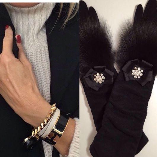 """Верхняя одежда ручной работы. Ярмарка Мастеров - ручная работа. Купить Перчатки """"Гламур длинные"""". Handmade. Черный"""