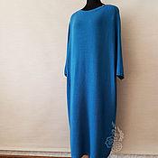 Готовая работа! Платье вязаное, свободное, цвет петроль