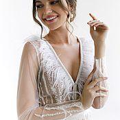 Одежда ручной работы. Ярмарка Мастеров - ручная работа Белое будуарное платье. Кружевной будуар с перьями для утра невесты. Handmade.
