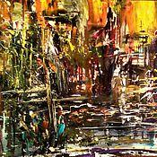 Картины и панно ручной работы. Ярмарка Мастеров - ручная работа Картина Дождь в ночном городе. Handmade.