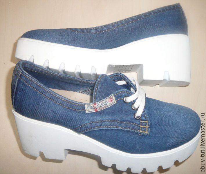 a06011184 ручной работы. Ярмарка Мастеров - ручная работа. Купить Джинсовые женские  туфли босоножки кожaнные 36 ...