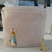 Работы для детей, handmade. Livemaster - original item Cosmetic bag children`s cotton Terry Bunny-boy. Handmade.