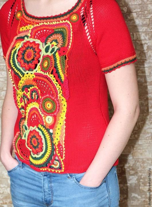 Кофты и свитера ручной работы. Ярмарка Мастеров - ручная работа. Купить Топ Лето красное. Handmade. Ярко-красный, фриформ