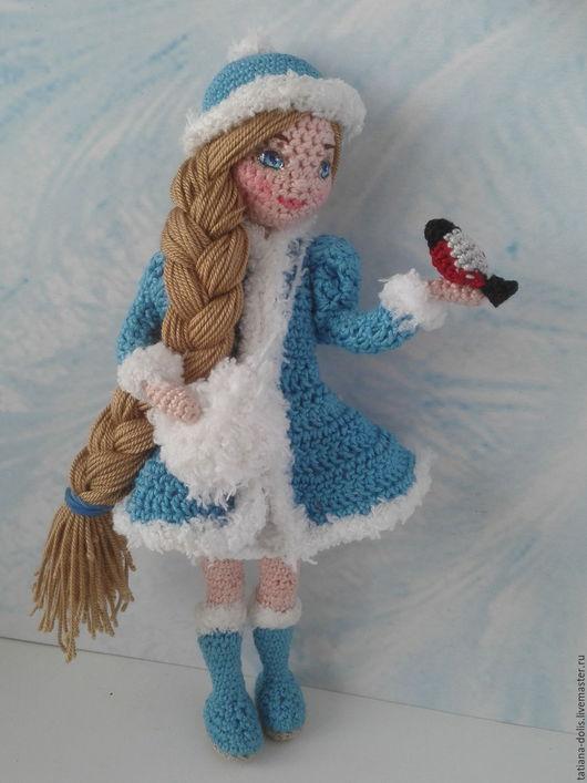 Коллекционные куклы ручной работы. Ярмарка Мастеров - ручная работа. Купить Снегурочка. Авторская работа. Handmade. Синий, телесный, снегирь