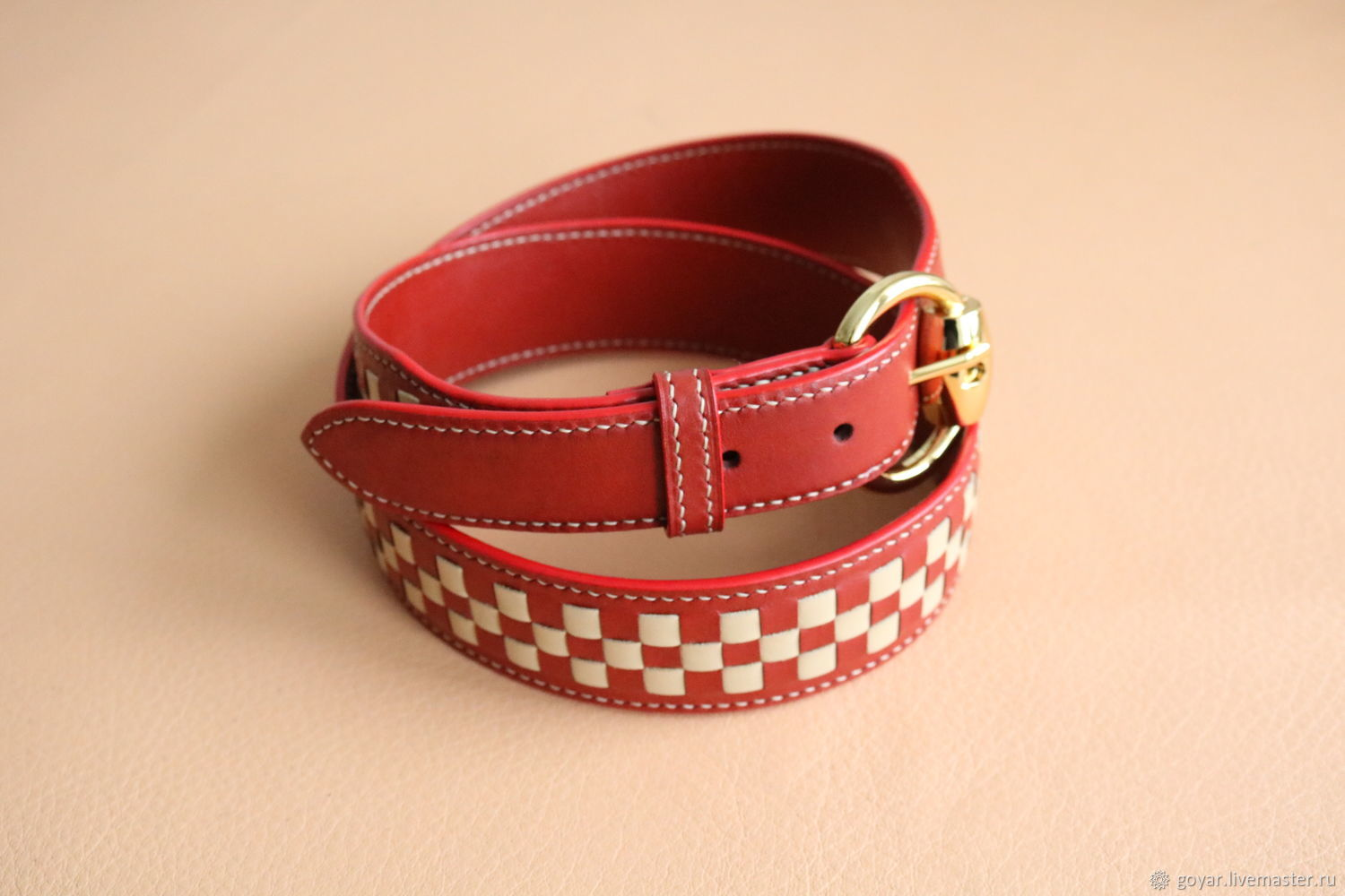 Copy of Leather belt for woman. Handmade, Belts handmade, Moscow, Фото №1