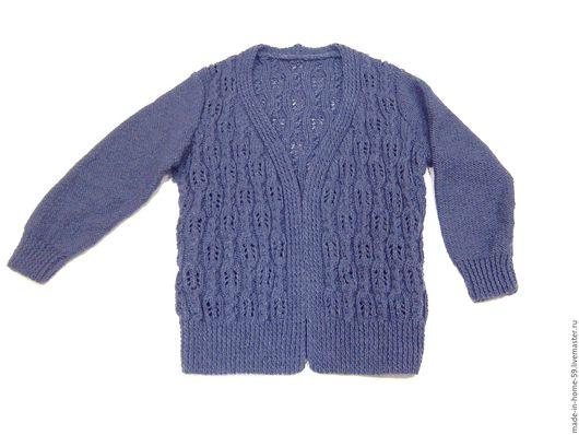 Кофты и свитера ручной работы. Ярмарка Мастеров - ручная работа. Купить кардиган тёплый синего цвета. Handmade. Синий