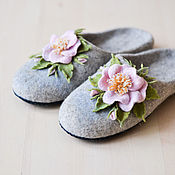 """Обувь ручной работы. Ярмарка Мастеров - ручная работа Валяные тапочки """"Нежный  шиповник"""". Handmade."""