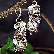 Украшения handmade. Livemaster - original item Earrings made of silvered wire with garnets.. Handmade.