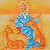 Янтарного цвета Деревья Картина фэнтези. Пастель. Женщина и лисы.