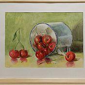 Картины и панно ручной работы. Ярмарка Мастеров - ручная работа Натюрморт с вишнями. Handmade.