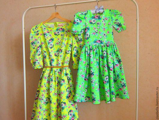 """Платья ручной работы. Ярмарка Мастеров - ручная работа. Купить """"Family Look"""" Платья для мамы и дочки. Handmade. Ярко-зелёный"""