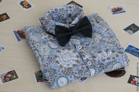Галстуки, бабочки ручной работы. Ярмарка Мастеров - ручная работа. Купить Галстук-бабочка джинсовая. Handmade. Тёмно-синий