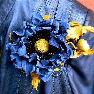 """Цветы и флористика ручной работы. Ярмарка Мастеров - ручная работа Мак из кожи """"Blue dream"""".. Handmade."""