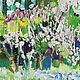 Сиреневый сад картина Сирень цветы Весенние цветы картина масло Яркая картина пейзаж в подарок Пейзаж город картина в интерьер