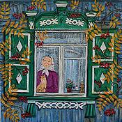 Картины ручной работы. Ярмарка Мастеров - ручная работа Картина маслом «Бабушка в окошке» (Продано). Handmade.
