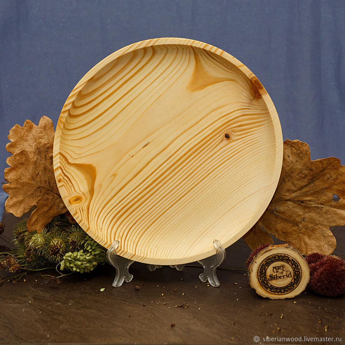 Деревянная Тарелка из Пихты Cибирской 24см #T67, Тарелки, Новокузнецк,  Фото №1