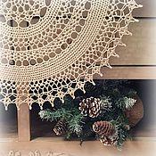 Для дома и интерьера ручной работы. Ярмарка Мастеров - ручная работа Салфетка круглая льняная. Handmade.