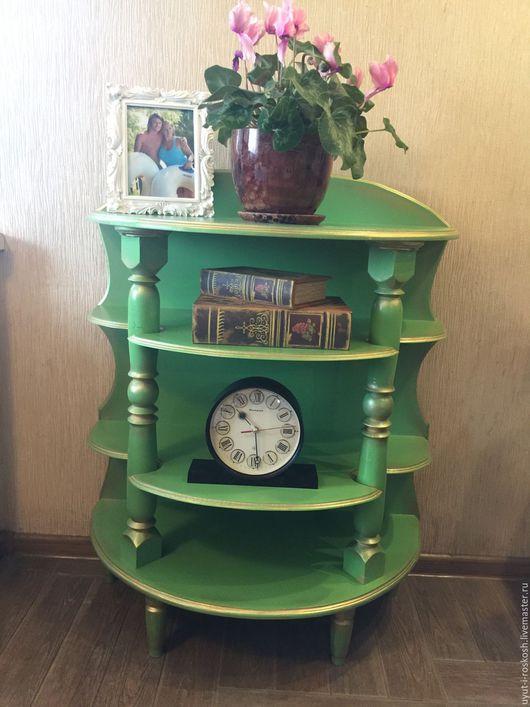 Мебель ручной работы. Ярмарка Мастеров - ручная работа. Купить этажерка пристенная. Handmade. Ярко-зелёный, балясина, лак