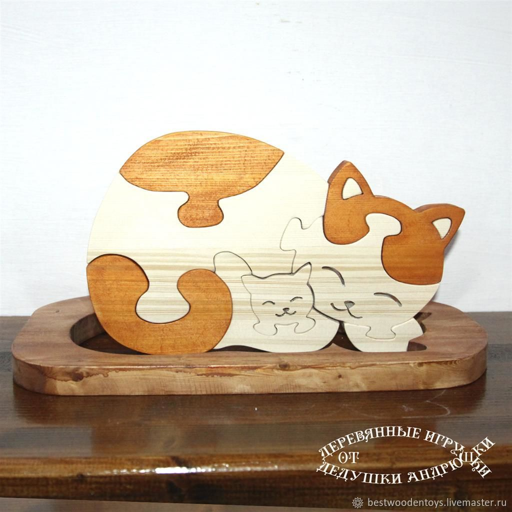Puzzle made of wood ' Mama Cat', Puzzle, Voskresensk,  Фото №1