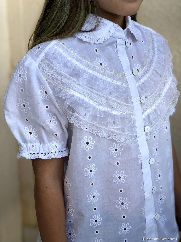 Детская нарядная блуза из хлопка и кружева в стиле бохо, Одежда, Ташкент, Фото №1
