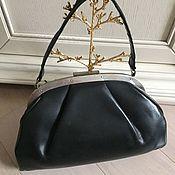 Винтаж ручной работы. Ярмарка Мастеров - ручная работа Дамская винтажная сумочка из кожи черная ссср винтаж. Handmade.