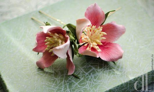 """Свадебные украшения ручной работы. Ярмарка Мастеров - ручная работа. Купить Шпильки с цветами """"Шиповники"""". Handmade. Розовый, шпильки для невесты"""