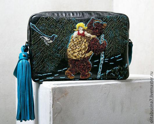 Купить женскую сумку из натуральной кожи с вышивкой бисером. Купить  женскую кожаную сумку в подарок.
