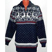 Одежда handmade. Livemaster - original item Sweater with reindeer and Norwegian ornament on zipper. Handmade.