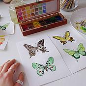 Картины и панно handmade. Livemaster - original item Pictures: Butterflies watercolor work collectible. Handmade.