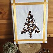Картины и панно handmade. Livemaster - original item Embroidered picture of the Tree of seal brown. Handmade.