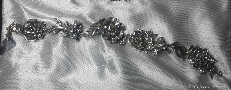 Bracelet 'Peonies in the morning dew', Bead bracelet, Moscow,  Фото №1