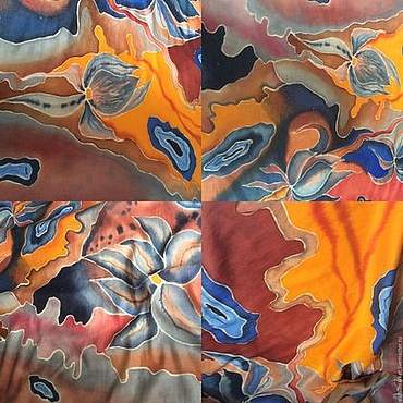 """Аксессуары ручной работы. Ярмарка Мастеров - ручная работа Палантин """"Sunset"""" батик, шерсть и шелк. Handmade."""