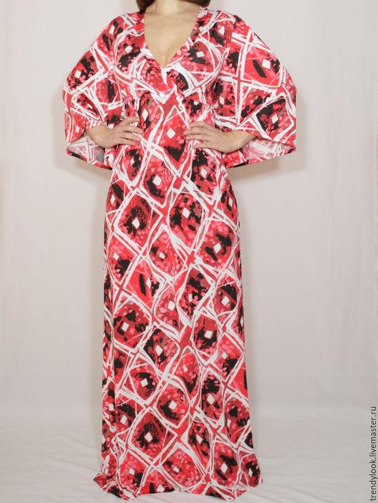 Платья ручной работы. Ярмарка Мастеров - ручная работа. Купить Длинное платье кимоно,платье в пол,белые ромбы. Handmade.