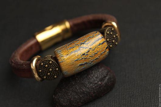 """Браслеты ручной работы. Ярмарка Мастеров - ручная работа. Купить Кожаный браслет Регализ """"Кора"""". Handmade. Регализ, regaliz браслет"""