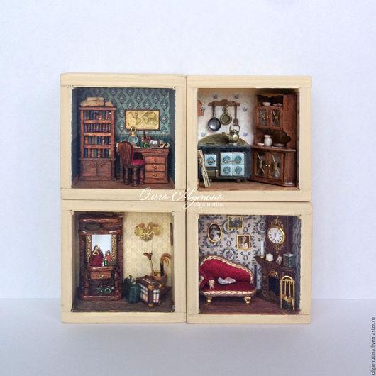 Миниатюра ручной работы. Ярмарка Мастеров - ручная работа. Купить Мини-дом из 4 комнат. Handmade. Комбинированный, дом, стеарин