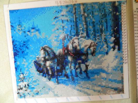 Животные ручной работы. Ярмарка Мастеров - ручная работа. Купить три коня. Handmade. Голубой, алмазная техника, зима