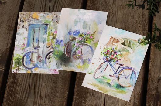 Открытки на все случаи жизни ручной работы. Ярмарка Мастеров - ручная работа. Купить Набор открыток: Bicycles. Handmade. Открытки